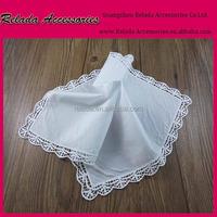 Factory wholesale custom-made 100 % cotton plain white handkerchief for girls's