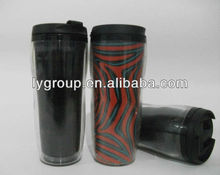 16OZ Double Wall plastic tumbler Removeable Bottom/350ml thermos travel mug with the paper insert by yourself