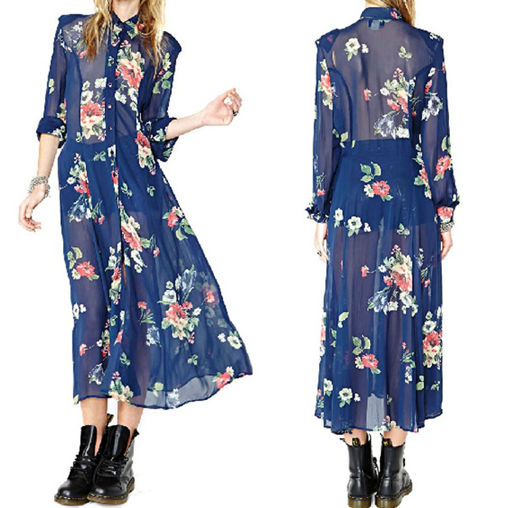 Floral printed buttoned pleated maxi dress new maxi long sleeve chiffon dress
