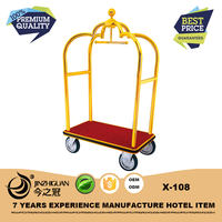 Commercial quality titanium gold-plated hotel luggage cart(X-108)