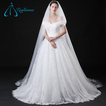 Lace Appliques Tulle Pearls Long Cathedral Wedding Veil