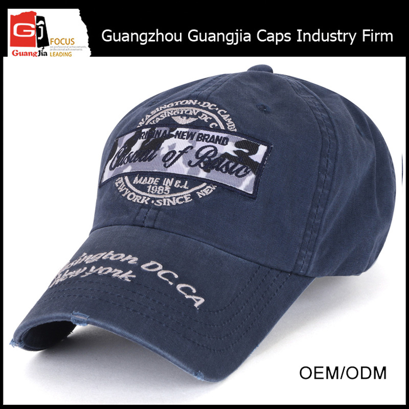 High Quality Manufacturer Worn-out Denim Embroidery Custom Solar Hat