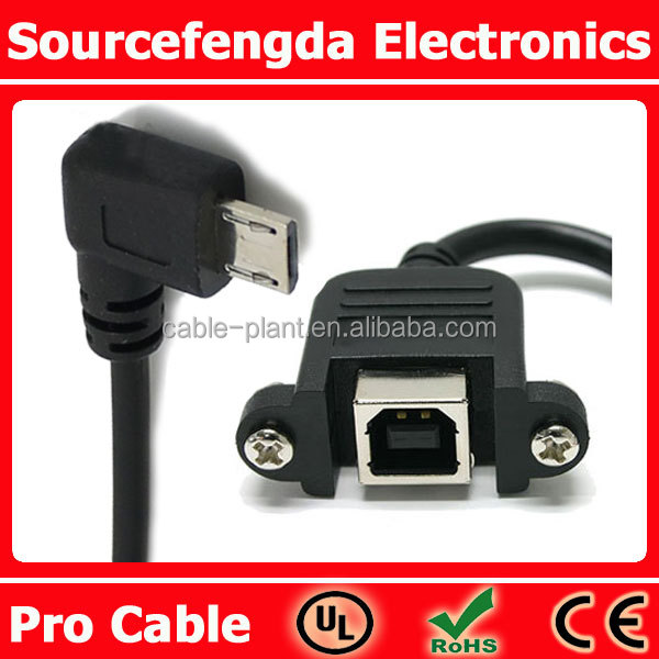 USB Panel Mount B to Right Anlge USB 5pin Micro Cable
