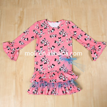 New Fashion Hot Pink Girls Wear Long Sleeve Cotton with lace and ruffle one piece dress of Casual Kids Frock Design pictures