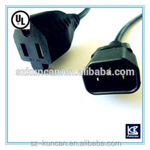 AC power cord for nema 1-15p piggy back plug