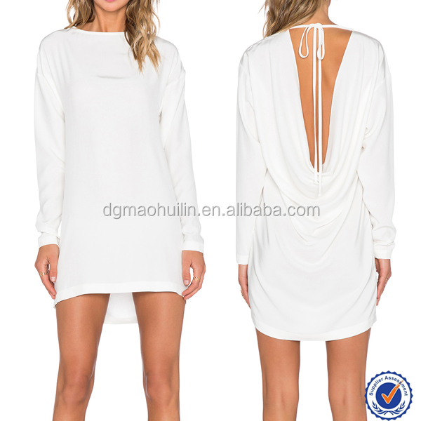 Hot 2015 women sexy club mature tall dress long sleeve white mini dress
