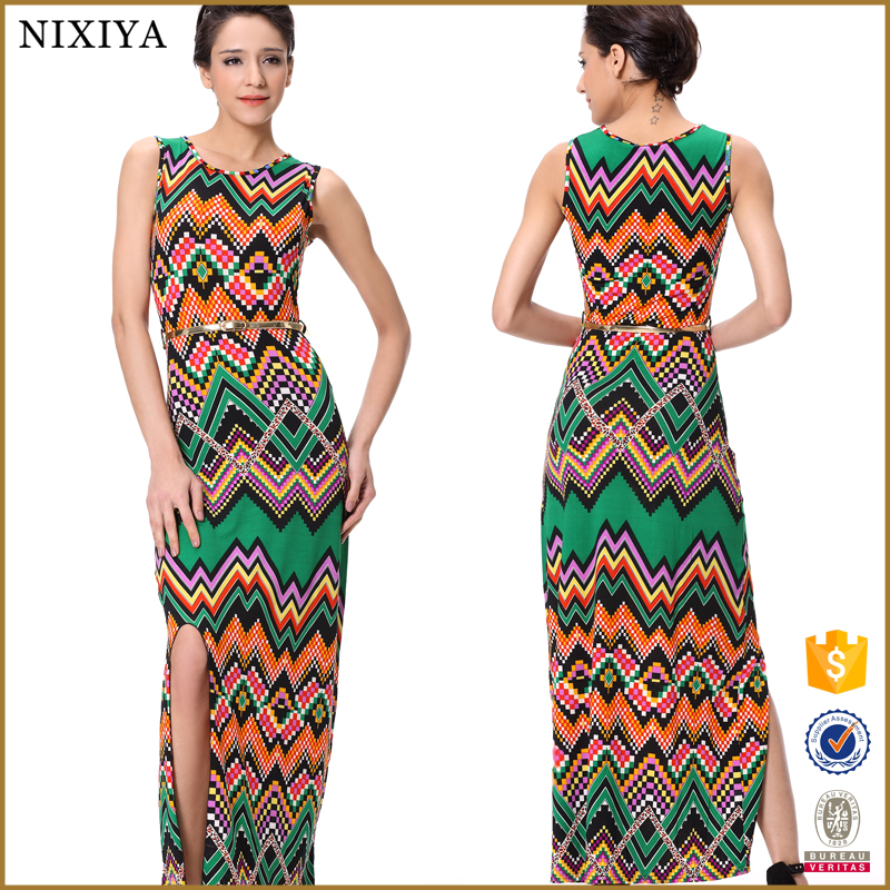 2016 wholesale summer high fashion printed african long ethnic dresses