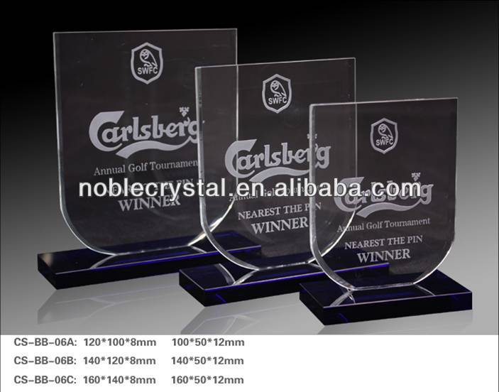 Noble Custom Made Crystal Annual Golf Tournament Award Trophy