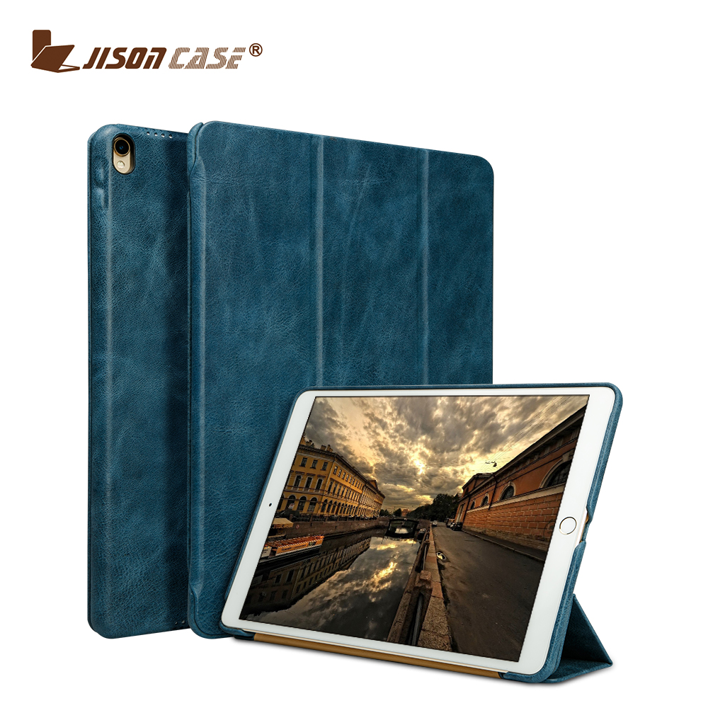 Jisoncase 2017 Classical Genuine Leather 3-Folding Flip Case for iPad Pro 10.5 inch