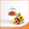 High quality handmade glass cake dome with stand for fruit storage from gold supplier