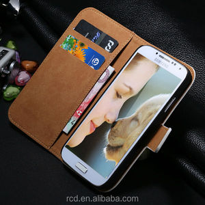 New Arrival Side Open Real Leather Case for Samsung Galaxy S4 I9500 Card Slot Stand Design RCD01248