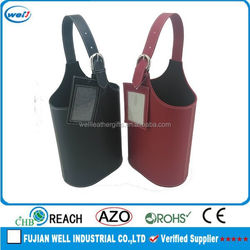 Eco-friendly PU leather wine bottle cardboard carrier manufacturer