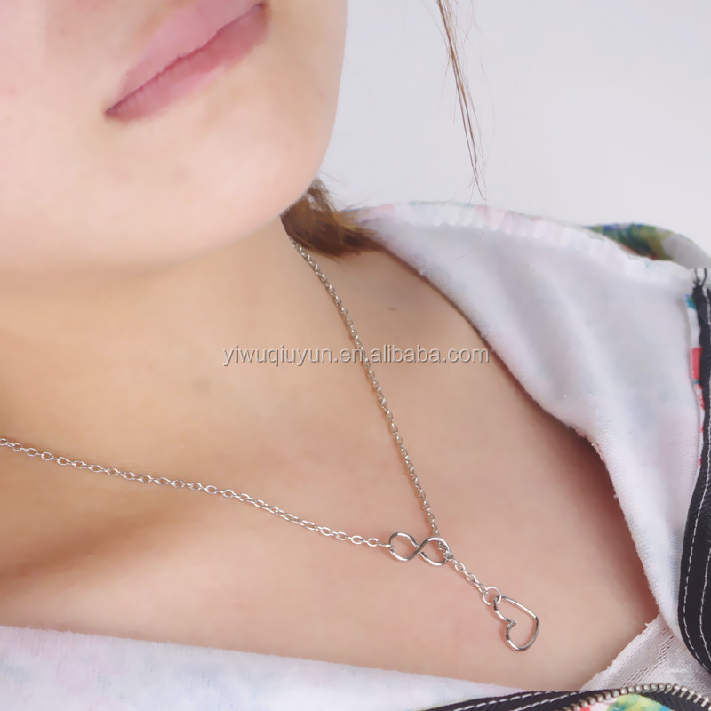In Stock Top Beautiful Woman Long Chain Silver Heart Charm Necklace
