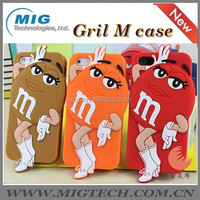 Cute 3D chocolate M&M soft silicone mobile phone cover for iphone 5 5S, for iphone 5 case with packaging 8 colors China supplier