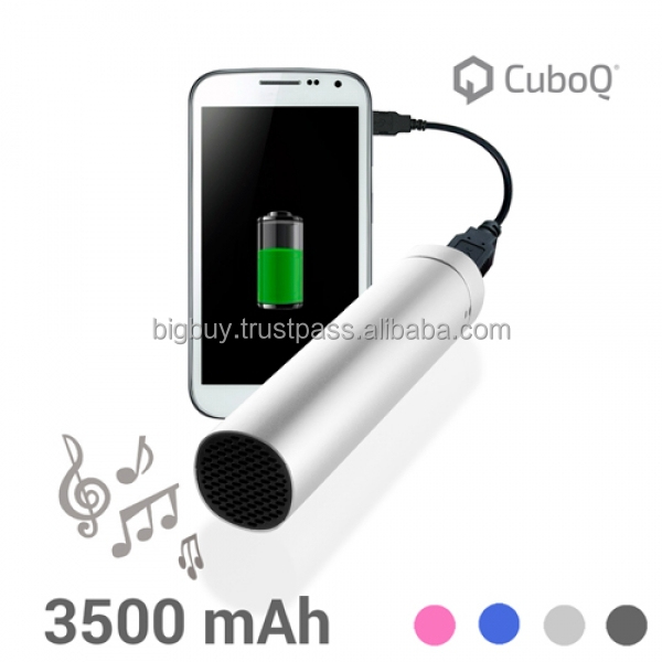 CuboQ Battery Charger with Speaker 3500 mAh