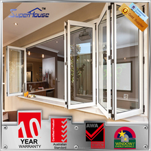 top quality powder coated aluminum glass folding main door design with double glass