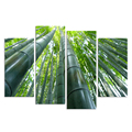 Modern Canvas Wall Art Green Bamboo Forest Wall Picture for Living Room HD Printed 4 Panels Framed and Stretched