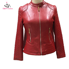 Wholesale Waterproof Wine Red Faux Leather Woman Jacket OEM Custom Stand Collar Fashion Slim Fit Plaid PU Leather Lady Jacket