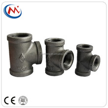 "high press malleable iron black equal barred tee used in furniture pipe fitting three ways 1/2"" 3/4"" 1"""