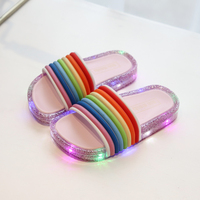 Unique ladies slippers designs color slippers indoor children slippers The LED flash Jelly shoes for children
