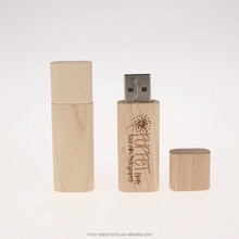 Hot selling natural wood material custom laser engraved logo 4GB wood usb flash pen drive