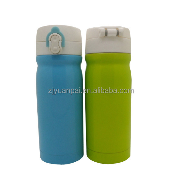 double wall 18/8 stainless steel vacuum insulated cup with threaded one-touch push button lid and locking mechanism