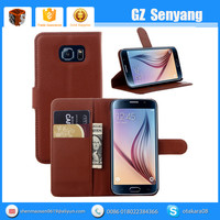 China Mobile Accessories for Samsung Galaxy S6 PU Filp Wallet Case With Card Slot