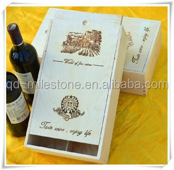 Wooden Boxwood / Custom Wine Gift Box for 2 Bottles