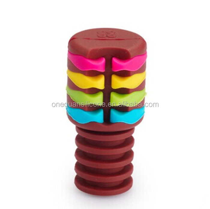 Silicone Custom Wine Bottle Stopper With marker rings