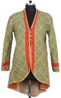 RTHCJ-22 Green Vibrant Color reversible cotton kantha Winter Jackets For Girls Abstract Designer Print Full sleeve size Jaipur