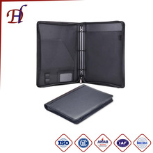 Multifunction Folder For Business Men Or Women Zippered PU Leather Portfolio With 3 Rings Loose-leaf Binder