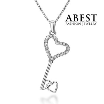 Hot Sale Heart Key Pendant Sterling 925 Silver Plating 18K White Gold Elegant Pendant Necklace Jewelry