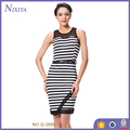 knee length sleeveless women fashion bodycon stripe printed short dress