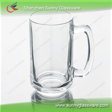 glass coffee mug with square handle glass mug with decal