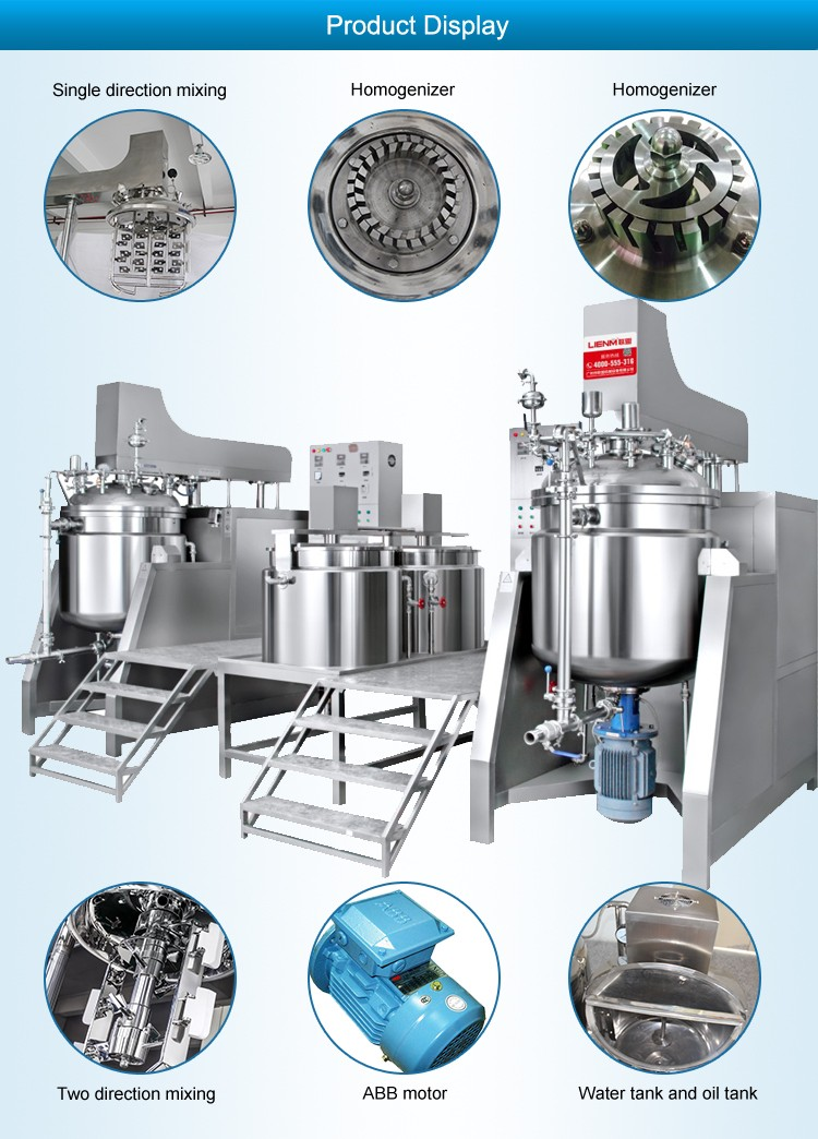 500L Cosmetic Cream Vacuum Mixer Making Homogenizer Emulsifier Machinery