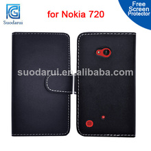 Book style Wallet PU Leather case for Nokia Lumia 720 cover Mix color