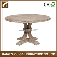 usa style antique solid oak wood round shape dining table/dining room furniture