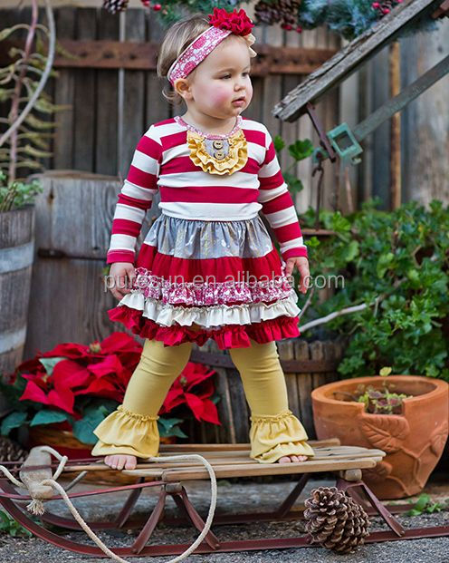 Wholesale 2017 fall kids boutique ruffle outfits adorable toddler girls two pieces clothing set