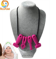 Mother Approved Mouth Jewelry Teething Ring Necklace Magenta