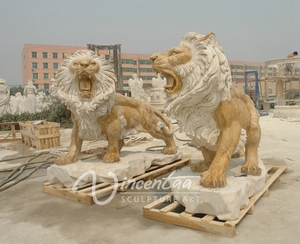 outdoor garden decoration stone carved outdoor European style roaring lion marble sculpture