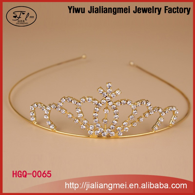 2015 Wholesale New Gold Plated Weddingbulk princess rhinestone tiaras and <strong>crowns</strong> for girls
