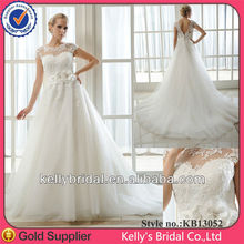 Sexy sweetheart satin neckline high neck tulle short sleeve ivory custom made wedding dress