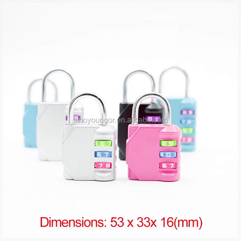 Mini colorful wheel code number padlock 3 digit creative travel lock