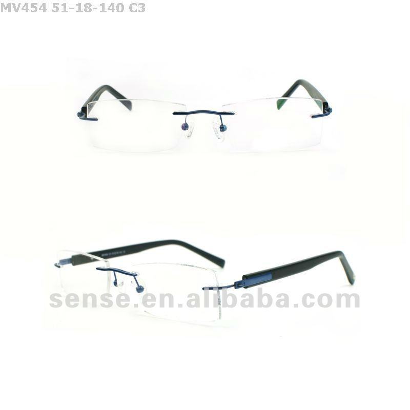 rimless titanium optical eyeglasses frames