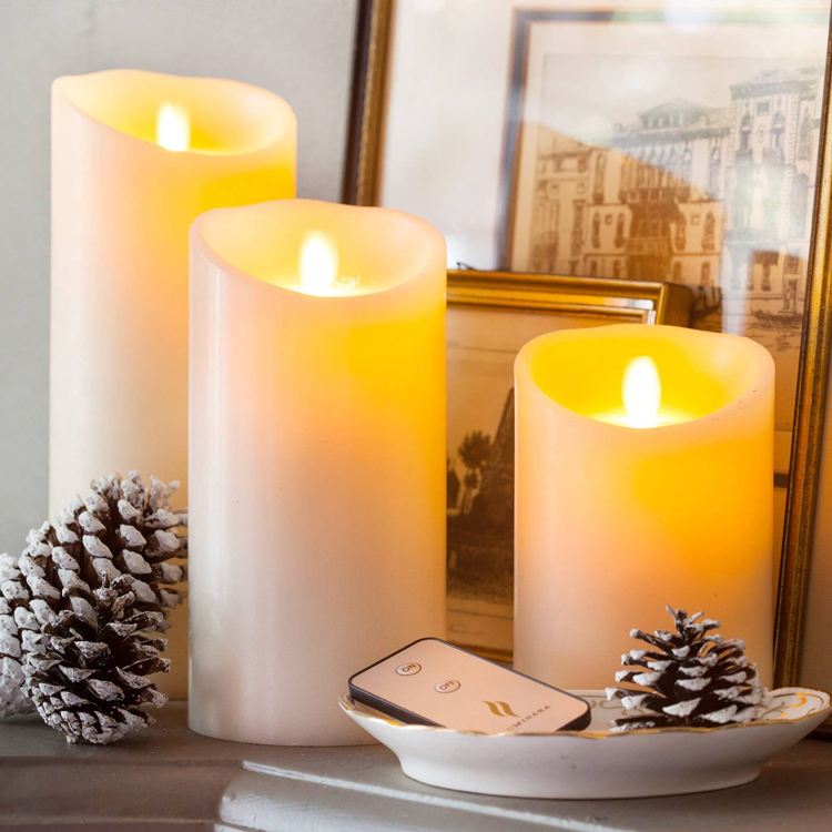Nice soft orange glow pillar shaped Flameless led candle