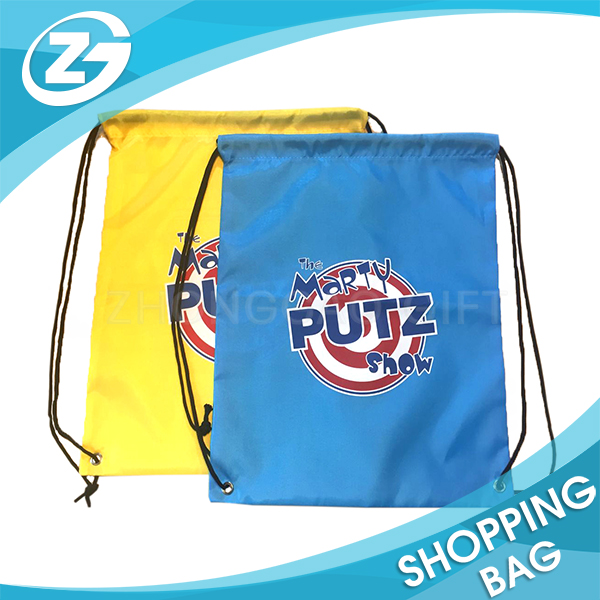 Wholesale Men Women Kids Children Sport Bag Cheap Promotion Custom Logo Printed 210D Nylon Polyester Backpack Gym Drawstring Bag