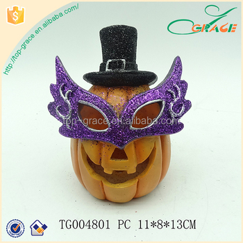 Cool party decoration polyresin Halloween Pumpkin with mask