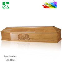 Classic solid wood funeral supply oak JS-IT131 coffin beds