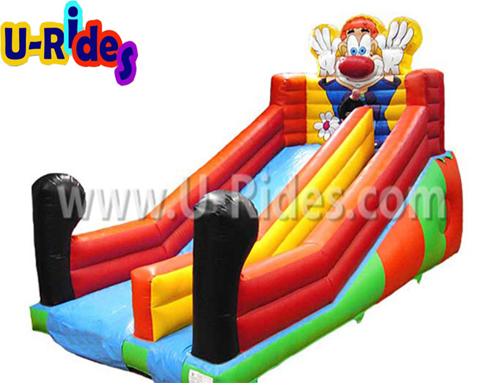 Clown character inflatable dry slide for indoor park