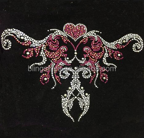 Chinese Ancient Pattern Rhinestone Applique Iron On Transfers